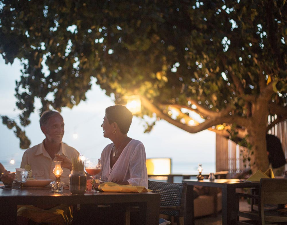 Couple having dinner in an outdoor patio
